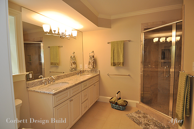 Award winning raleigh renovation by corbett design build for Master bathroom expansion